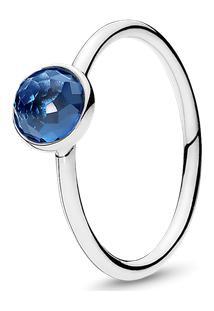 Anel Gota De Cristal Azul Topázio - Dezembro - 52
