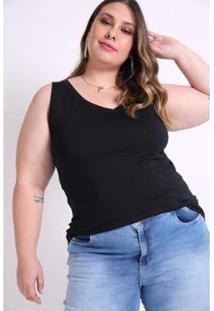 Regata Kauê Plus Size Decote V Feminina - Feminino-Preto