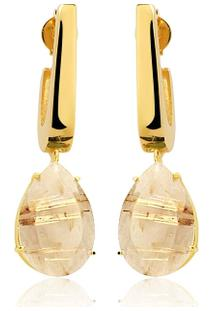 Brinco Toque De Joia Mini Anzol Quartzo Rutilo Dourado - Feminino-Dourado