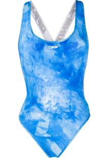 Off-White Maiô Tie-Dye - Azul