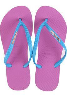Sandália Havaianas Slim Logo Pop-Up Feminina - Feminino-Pink+Azul Turquesa