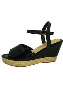 Sandalia Salto Elegance Anabela Verniz Preto - Kanui