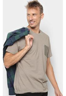 Camiseta Botonê Redley Com Bolso Bicolor Masculina - Masculino-Bege