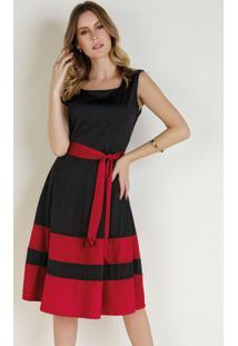 Vestido Preto E Vermelho Moda Evangélica