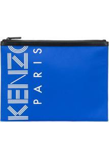 Kenzo Bolsa Com Logo E Zíper - Azul