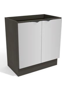 Balcão De Cozinha 80 Cm Nox 2 Portas Onix/Steel - Kappesberg