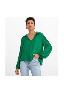 Blusa Bata Lisa Com Mangas Bufantes E Botões | Marfinno | Verde | P