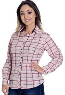 Camisa Pimenta Rosada Xadrez Tessa - Feminino-Vinho+Branco