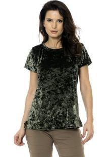 Blusa Bisô Veludo Feminino - Feminino-Verde Militar