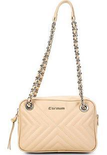 Bolsa Couro Carmim Mini Bag Alana Transversal Feminina - Feminino-Areia