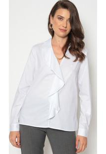 Blusa Com Sobreposição Com Bordado - Brancadudalina
