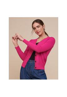 Amaro Feminino Cardigan Tricot Básico Botões, Pink