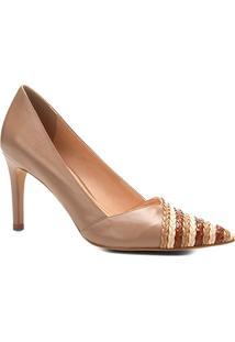 Scarpin Couro Shoestock Salto Alto Tranças - Feminino-Nude