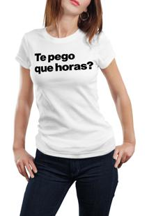 Camiseta Hunter Te Pego Que Horas? Branca