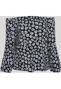 Blusa Feminina Ombro A Ombro Estampada Floral Manga Sino Preta