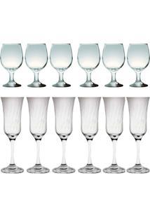 Kit 6 Taças Vinho Tinto E 6 Taças Lírio Champanhe 180Ml Sture Móveis - Kanui