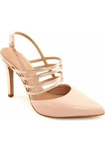Scarpin Tiras Metalizadas Sapato Show 04070 - Feminino-Nude