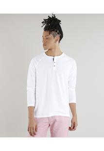 Camiseta Masculina Com Botões Manga Longa Gola Careca Branca