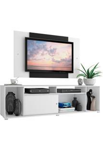 Rack Madesa Cancun E Painel Para Tv Até 58 Polegadas - Branco/Preto Branco