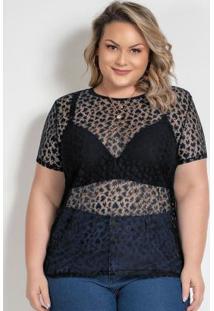 Blusa Preta Em Renda Com Transparência Plus Size