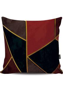 Capa Para Almofada Geométrico- Preto & Vermelho Escuro