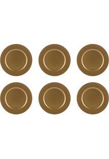 Conjunto De Sousplat Com 6 Peças Midas Dourado 33 Cm