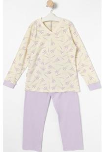 Pijama Floral - Bege Claro & Liláslupo