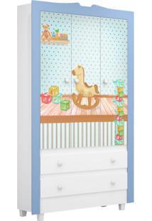 Guarda-Roupa Infantil Happy 3 Pt Branco E Azul