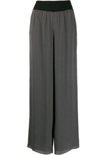 Theory Calça Pantalona Estampada - Preto
