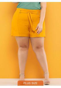 Shorts Plus Size Amarração Amarelo