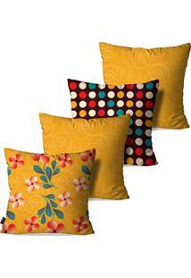 Kit Com 4 Capas Para Almofadas Pump Up Decorativas Amarelo Ocre Flores Poá Abstrato 45X45Cm
