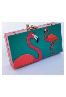 Clutch De Acrílico Flamingos