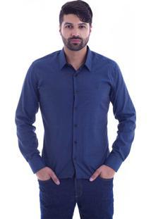 Camisa Slim Fit Live Luxor Azul Marinho 2112-03 - Gg