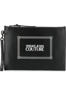 Versace Jeans Couture Logo Print Zipped Clutch - Preto