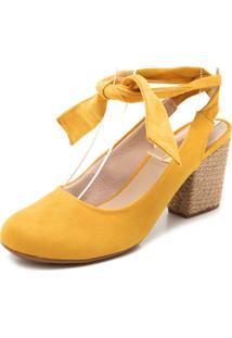 Scarpin Moleca Amarração Amarelo