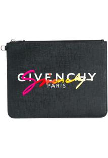 Givenchy Logo-Embroidered Zip Clutch - Preto