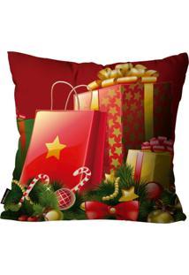 Capa Para Almofada Mdecore Natal Presente Vermelha 45X45Cm