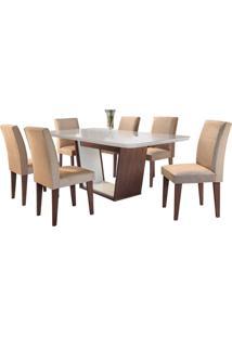 Sala De Jantar Sofia 1.80M Com 6 Cadeiras Café/Off White Veludo Caramelo