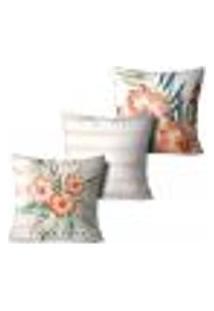 Kit 3 Capas Para Almofadas Decorativas Floral Paradise 45X45Cm