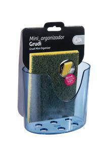 Mini Organizador Com Ventosa Glass 10,4 X 5,6 X 9 Cm Azul Coza