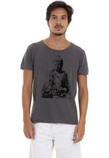 Camiseta Estonada Corte À Fio Joss Buda Sentado Masculina - Masculino-Chumbo
