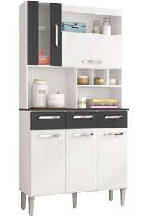 Cozinha Compacta Melissa 5 Portas Branco E Preto Poquema