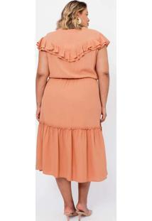 Vestido Almaria Plus Size Pianeta Midi Com Babados