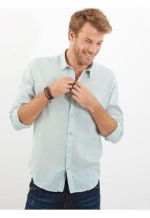 Camisa John John Linen Grey Blue Azul Masculina Camisa Linen Grey Blue-Azul Claro-G