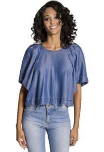 e3f33336c ... Blusa Manga Ampla Jeans Colcci Feminino - Feminino-Azul