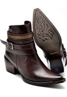 Bota Top Franca Shoes Country Bico Fino Feminina - Feminino-Café