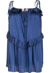 Maggie Marilyn Blusa 'Heart Of Gold' De Seda - Azul