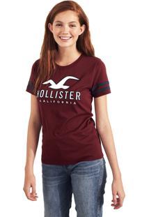 Camiseta Manga Curta Hollister Gráfica Vinho