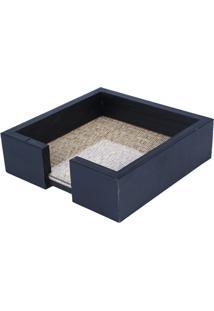 Porta Guardanapo Em Madeira Com Vidro 15X4,5Cm Azul