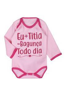 Body Manga Longa Com Frase Eu+Titia=Bagunça Rosa Rosa